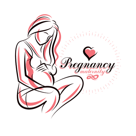 concerns: Elegant pregnant woman body silhouette drawing. Vector illustration of mother-to-be fondles her belly. Medical rehabilitation and childcare center marketing card