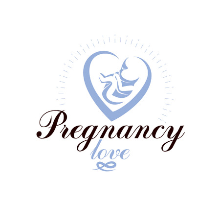 Vector embryo emblem. Pregnancy and mother care theme, new life idea drawing. Maternity ward abstract emblem