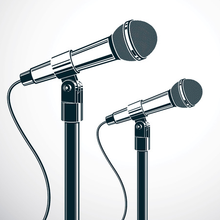 journalism: Stage microphones vector illustration isolated on white. Press conference, influence of social message.