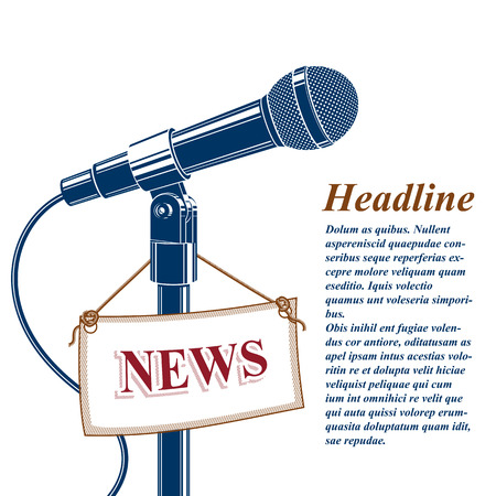 journalism: Information and talk show advertising poster with 3d microphone vector illustration and news tag. News and facts reporting live reportage concept. Illustration