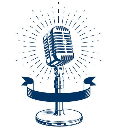relaciones publicas: Stage microphone vector symbol isolated on white. Radio music station advertising emblem. Social announcement, broadcasting concept. Vectores
