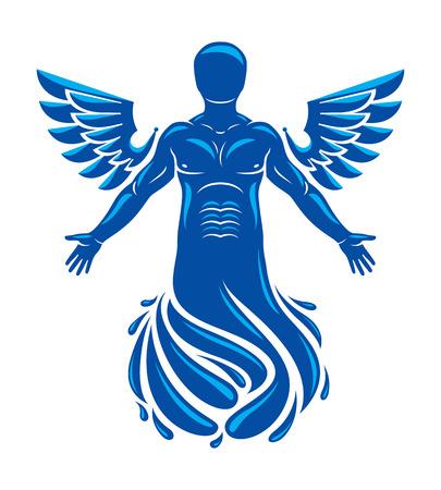 근육 인간, 조류 날개로 만든 개별의 벡터 그래픽 일러스트 레이 션. 순수한 물은 자유로운 삶이며 바다의 신 Poseidon과 모든 물의 수호자입니다.