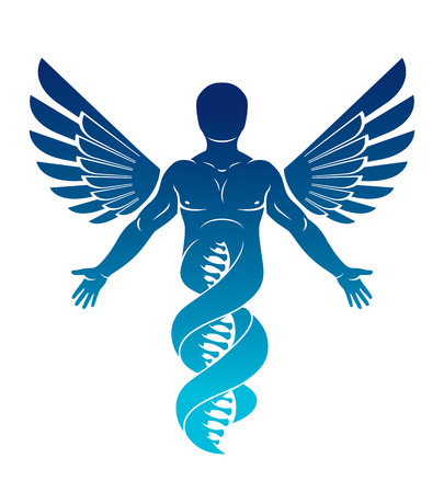 Vector graphic illustration of strong male made as DNA strands continuation and created with bird wings. Human as the object of biochemistry research.