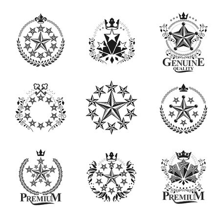 five stars: Stars emblems set. Heraldic Coat of Arms decorative logos isolated vector illustrations collection.