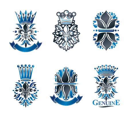 royal person: Lily Flowers Royal symbols, floral and crowns,  emblems set. Heraldic Coat of Arms decorative logos isolated vector illustrations collection.