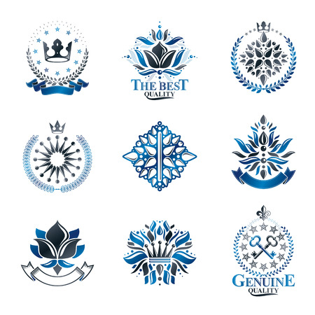 royal person: Royal symbols, Flowers, floral and crowns, emblems set. Heraldic vector design elements collection. Retro style label, heraldry logo.