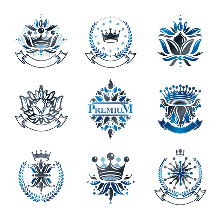 royal person: Flowers, Royal symbols, floral and crowns,  emblems set. Heraldic Coat of Arms decorative logos isolated vector illustrations collection. Illustration
