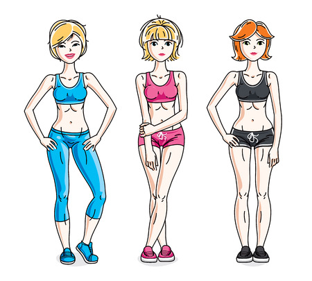 Attractive young women standing wearing stylish sport clothes. Vector people illustrations set. Lifestyle theme fem characters.