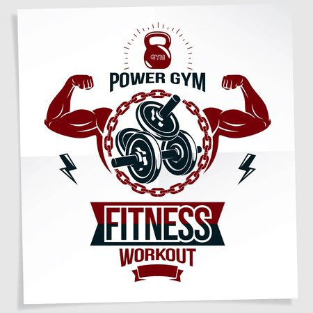 Gym advertising poster. Vector composition created using athletic sportsman biceps arm with disc weight dumbbell and kettle bell sport equipment.