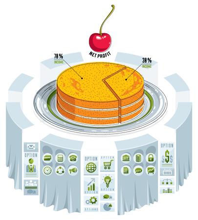 porcion de torta: Infographics template, piece of pie idea, vector illustration.