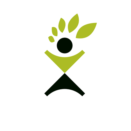 Vector illustration of excited abstract person with raised hands up. Go green idea creative logo. Ecotourism conceptual icon. Downshifting symbol.
