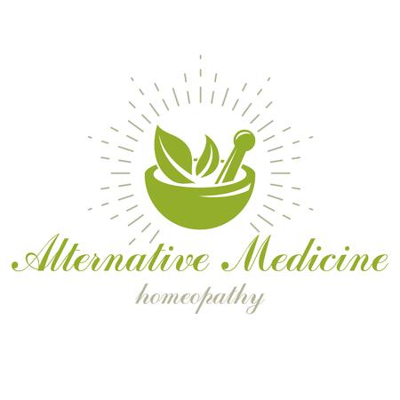 乳鉢と乳棒グラフィック ベクトル シンボル緑の葉で構成されています。ホメオパシー薬理学やリハビリテーション医学で使用するための創造的なロゴ。