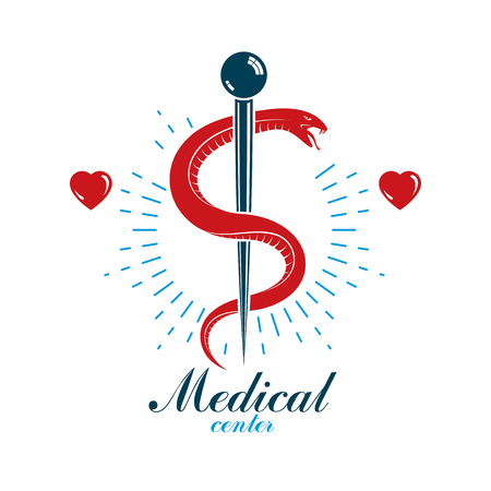 systole: Aesculapius vector abstract business logo for use in medical treatment. Cardiovascular system diseases prevention conceptual emblem. Illustration