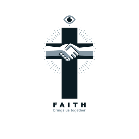 Christianity Cross true belief in Jesus vector symbol, Christian religion icon. Faith and Religion brings people together.