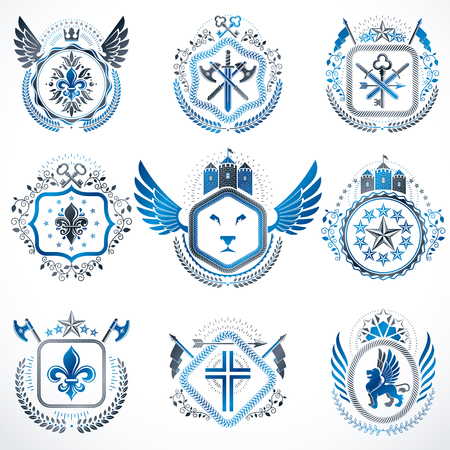five stars: Heraldic decorative emblems made with royal crowns, animal illustrations, religious crosses, armory and medieval castles. Collection of symbols in vintage style. Illustration