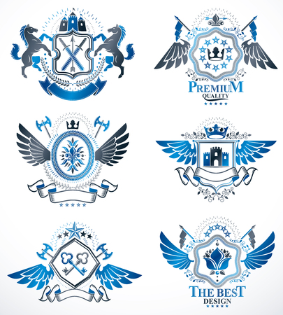 five stars: Vector classy heraldic Coat of Arms. Collection of blazons stylized in vintage design and created with graphic elements, royal crowns and flags, stars, towers, armory, religious crosses.