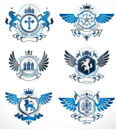 five stars: Vintage heraldry design templates, vector emblems created with bird wings, crowns, stars, armory and animal illustrations. Collection of vintage style symbols. Illustration