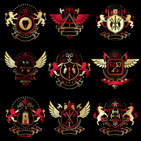 Vector vintage heraldic Coat of Arms designed in award style. Medieval towers, armory, royal crowns, stars and other graphic design elements collection. Illustration