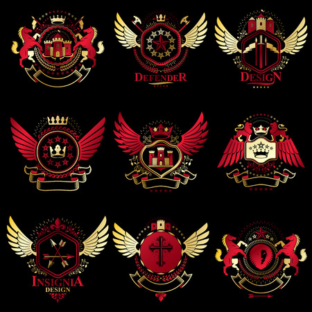 five stars: Vector vintage heraldic Coat of Arms designed in award style. Medieval towers, armory, royal crowns, stars and other graphic design elements collection. Illustration