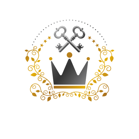 royal person: Royal Crown emblem. Heraldic Coat of Arms decorative logo isolated vector illustration. Ancient logotype in old style on white background. Illustration