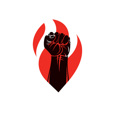 totalitarianism: Muscular clenched fist of strong man vector illustration. Martial arts championship abstract symbol.