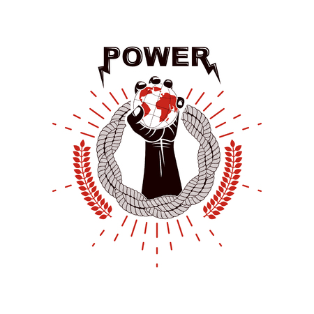 Vector logo composed using strong muscular raised arm surrounded by rope and holding Earth globe. Authority as the means of global control and manipulation. Illustration