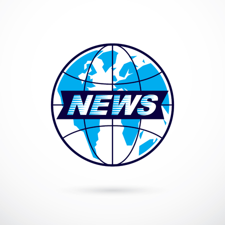 journalism: Journalism theme vector emblem created with Earth planet illustration and news writing, News and facts reporting.