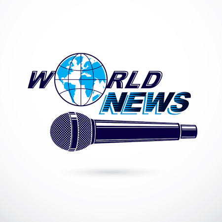 journalism: News and facts reporting vector logo composed using world news inscription and journalistic microphone equipment.