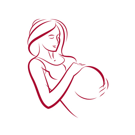 Attractive pregnant woman body silhouette drawing. Vector illustration of mother-to-be fondles her belly. Happiness and caress concept.