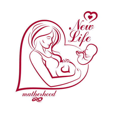 concerns: Elegant pregnant woman body silhouette drawing. Vector illustration of mother-to-be fondles her belly. Obstetrics and gynecology clinic advertising banner Illustration