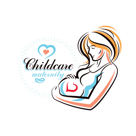 Pregnant woman elegant body silhouette, sketchy vector illustration. Reproduction clinic advertising Illustration