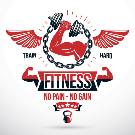 Weight-lifting gym conceptual vector symbol composed using kettle bells sport equipment, iron chain and athletic bodybuilder arm holding dumbbell.