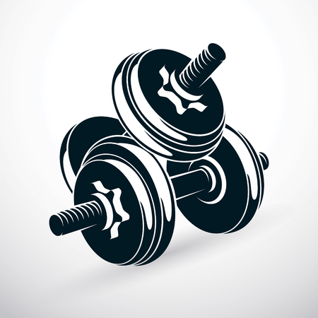 Dumbbell vector illustration isolated on white with disc weight. Sport equipment for power lifting and fitness training. Ilustrace