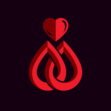 Red heart shape vector illustration composed with blood drops. Medical theme vector graphic symbol for use in medicine, rehabilitation or pharmacology.