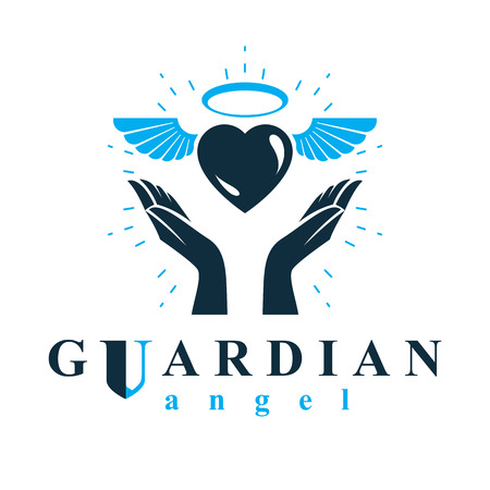 Loving heart in human hands, giving aid metaphor. Holy spirit graphic vector logo best for use in charity organizations. Vettoriali