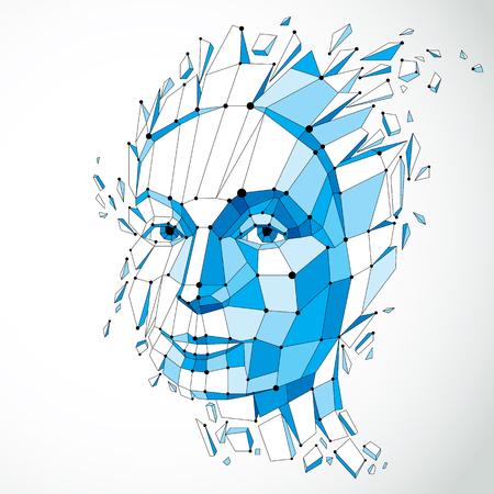 Illustration des Vektors 3d des menschlichen Kopfes hergestellt in der niedrigen Polyart. Gesicht der nachdenklichen Frau, kluge Person. Intelligenz-Allegorie, künstlerisch deformiertes Drahtgitterobjekt, in Splitter und Fragmente gebrochen Standard-Bild - 87432988