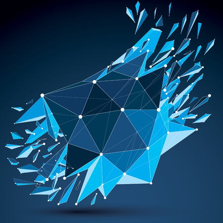 Perspective technology demolished shape with white dotted lines connected, polygonal blue wireframe object. Explosion effect, abstract thread faceted element cracked into multiple fragments. Illustration