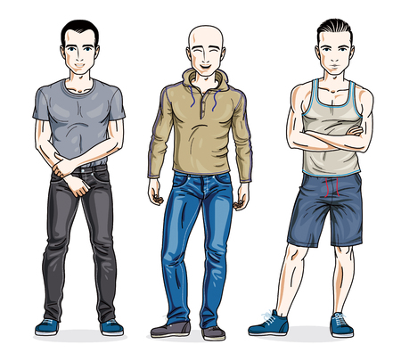 t shirt model: Handsome men standing in stylish casual clothes. Vector different people characters set. Lifestyle theme male characters.