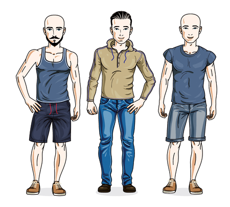 t shirt model: Handsome young men standing wearing fashionable casual clothes. Vector diverse people illustrations set. Illustration