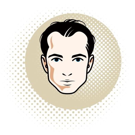 Caucasian confident brunet male, attractive man face, vector human portrait. Illustration