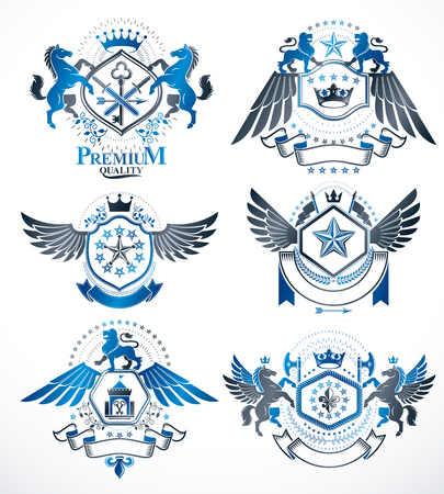 five stars: Set of vector retro vintage insignias created with design elements like medieval castles, armory, wild animals, imperial crowns. Collection of coat of arms.