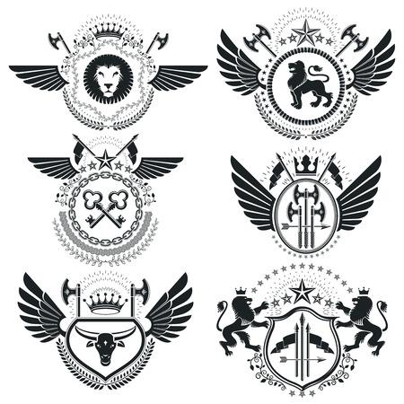 five stars: Heraldic designs, vector vintage emblems. Coat of Arms collection, vector set.