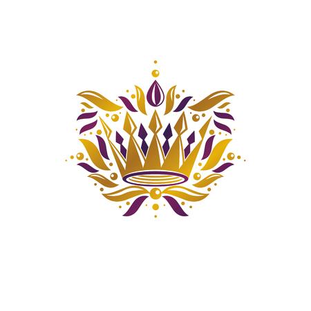Royal Crown vector illustration. Heraldic design element. Retro style logo. Ancient logotype isolated on white background.