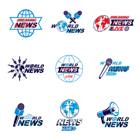 journalism: Social announcement logo, emblems and leaflets collection. Vector Earth, journalistic microphones and loudspeakers equipment composed with news, breaking news and world live news inscription.
