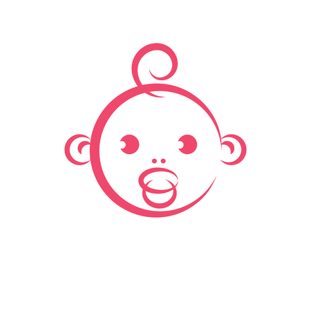 Hand drawn vector illustration of cute smiling child face. Innocent tiny firstborn.