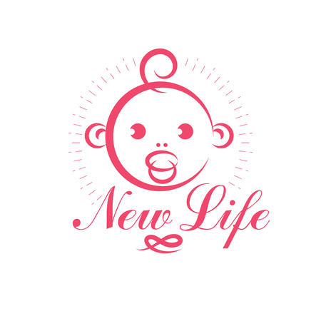 Cute smiling child face vector emblem. Innocent tiny firstborn illustration, childcare concept. Neonatal care center conceptual symbol Illustration