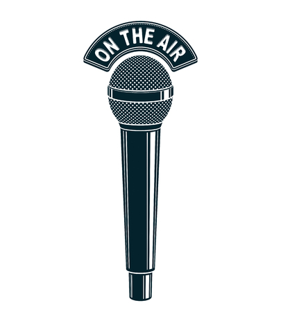 journalism: 3d microphone vector illustration isolated on white. Radio broadcasting concept. On the air. Illustration
