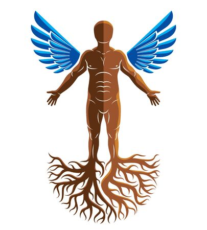 Vector artistic graphic illustration of muscular human, self. Strong roots and angel wings as symbol of personality growth, freedom and development.