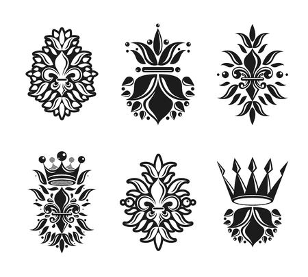 armory: Lily Flowers Royal symbols, floral and crowns,  emblems set. Heraldic Coat of Arms decorative logos isolated vector illustrations collection.