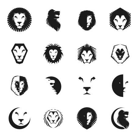 Brave Lion King faces emblems elements set. Heraldic Coat of Arms decorative logos isolated vector illustrations collection. Illustration